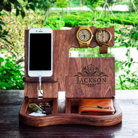 Customized amazon hot selling nightstand organizer,wireless charging dock