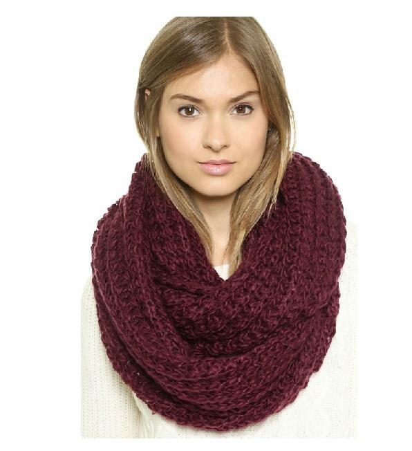 Fashion Women Warm Knit Neck Circle Wool Cowl Snood Long Scarf Shawl Wrap