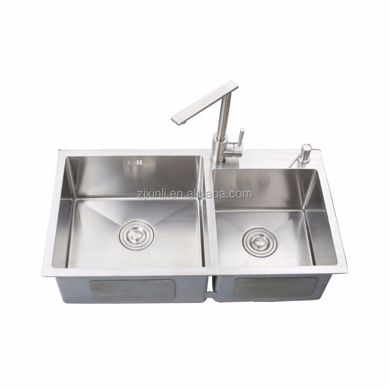 78*43CM SUS304 Stainless Steel Counter Top Rectangular Double Bowl Kitchen Sink X26030
