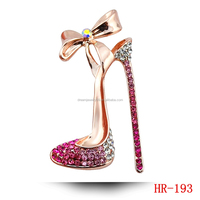 Bowknot High-Heeled Shoes Brooches 18K Gold And Silver Plated Rhinestone Jewelry & Jewellery Brooch Pin