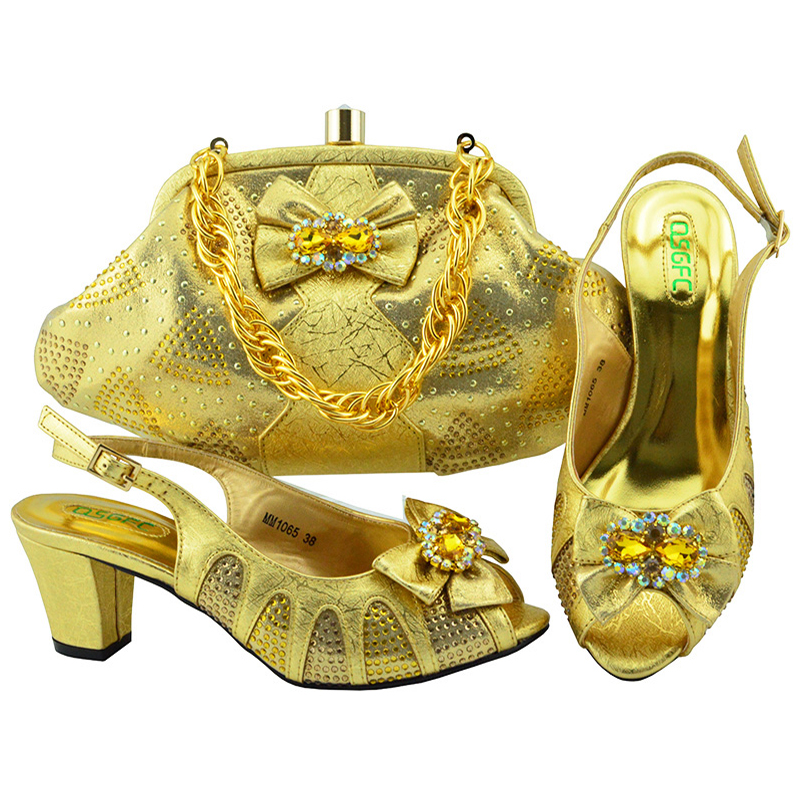 women Bestway heel shoes Italian bags fashionable MG1241 stone dresses matching Low for set with and design Gold gqUrg6