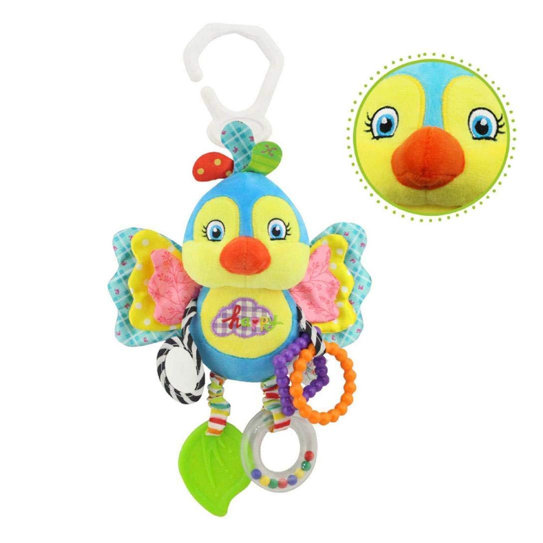 Staron Baby Toys Car Seat Toy, Baby Stroller Hanging Car Seat Crib Toy Plush Animal Rattle Bed Bell Infant Baby Stroller Activity Plush Animal Toys (B)
