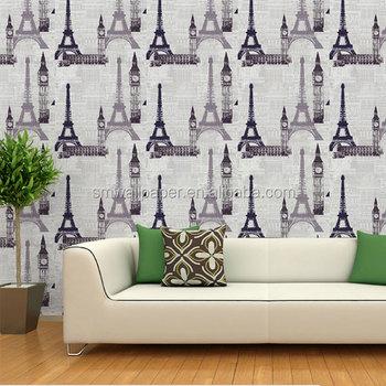 eiffel tower design vinyl wallpaper waterproof exterior wall panels