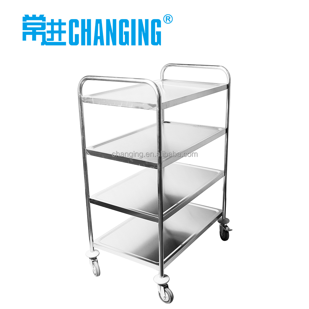 4 Layer Stainless Steel Dining Cart For Kitchen Serving Trolley   Buy  Serving Trolley,Dining Cart,Stainless Steel Kitchen Trolley Product On  Alibaba.com