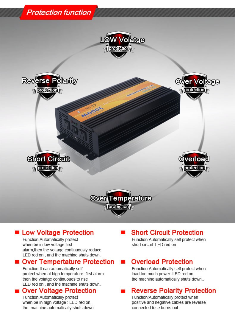 3000W off grid dc to ac modified sine wave power inverter