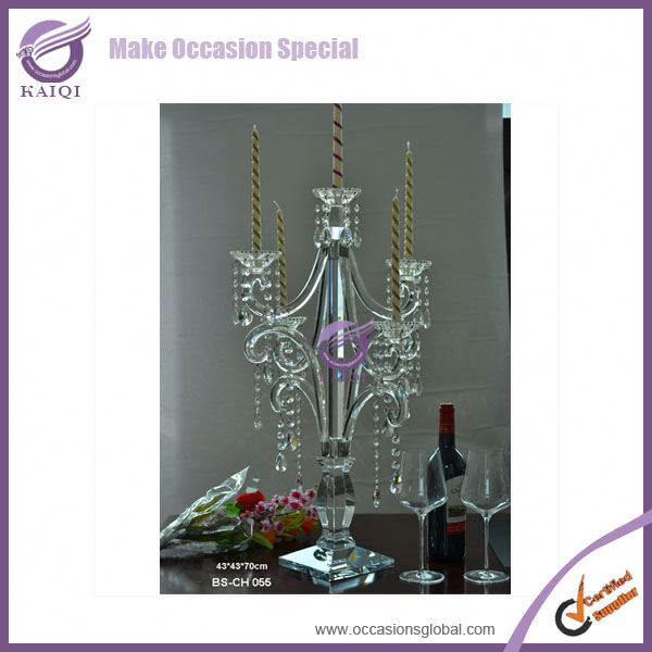 K8252 Antique Clear Candle Holder 3 Arms/5 Arms Crystal Candelabra With Hanging Crystals For Wedding