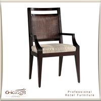 Chinese Wooden Restaurant Dining Chair Rattan Back with arm