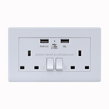 double USB Wall plate with uk socket twin usb ports 3 gang made in china