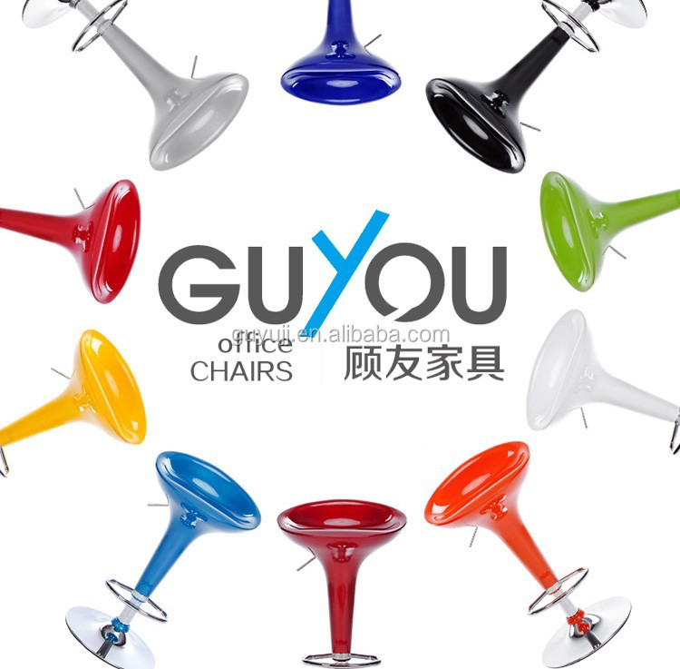 GY-901 New ABS Glass Seat Breakfast colorful Bar Stool Chrome Swivel Pub Barstool Chair