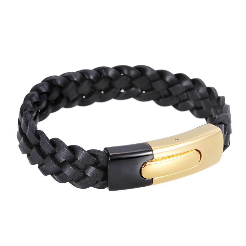 2016 Trending Products Mens Black Woven Charm Cuff Bracelet with Gold Clasp