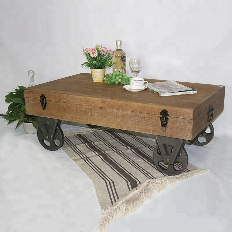 Rustic Trolley Wheels Loft Coffee Table With Storage Warehouse Cart Product On Alibaba