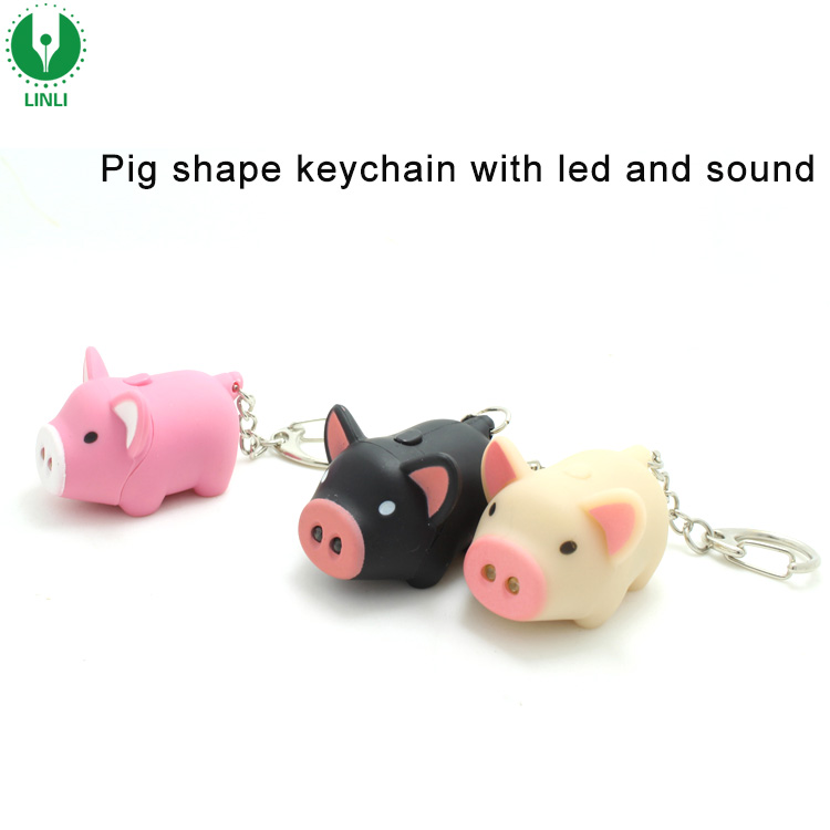 Promotion Cute Pig Sound Keychain, Pig Keychain Led, Keychain With Sound