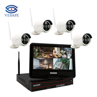 VESAFE H.265 4CH 1080P Wifi CCTV Camera kit with 10 Inch LCD HOME CCTV Security Camera System