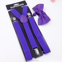 Mens high quality decoration custom suspender and bowtie set
