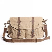 2810 High Quality Casual School Fashion Khaki Canvas Cotton Unisex Shoulder Bag with Leather Straps