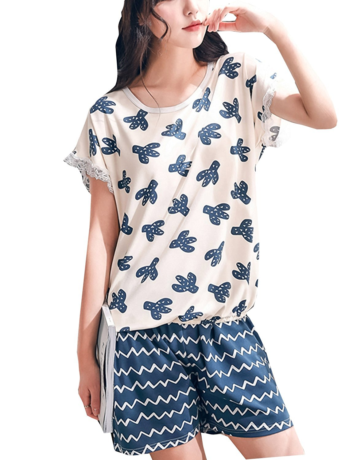Get Quotations · LLP Teen Girls Lovely Cartoon Summer Pajama 2 Pieces  Casual Sleepwear (8-16 Years