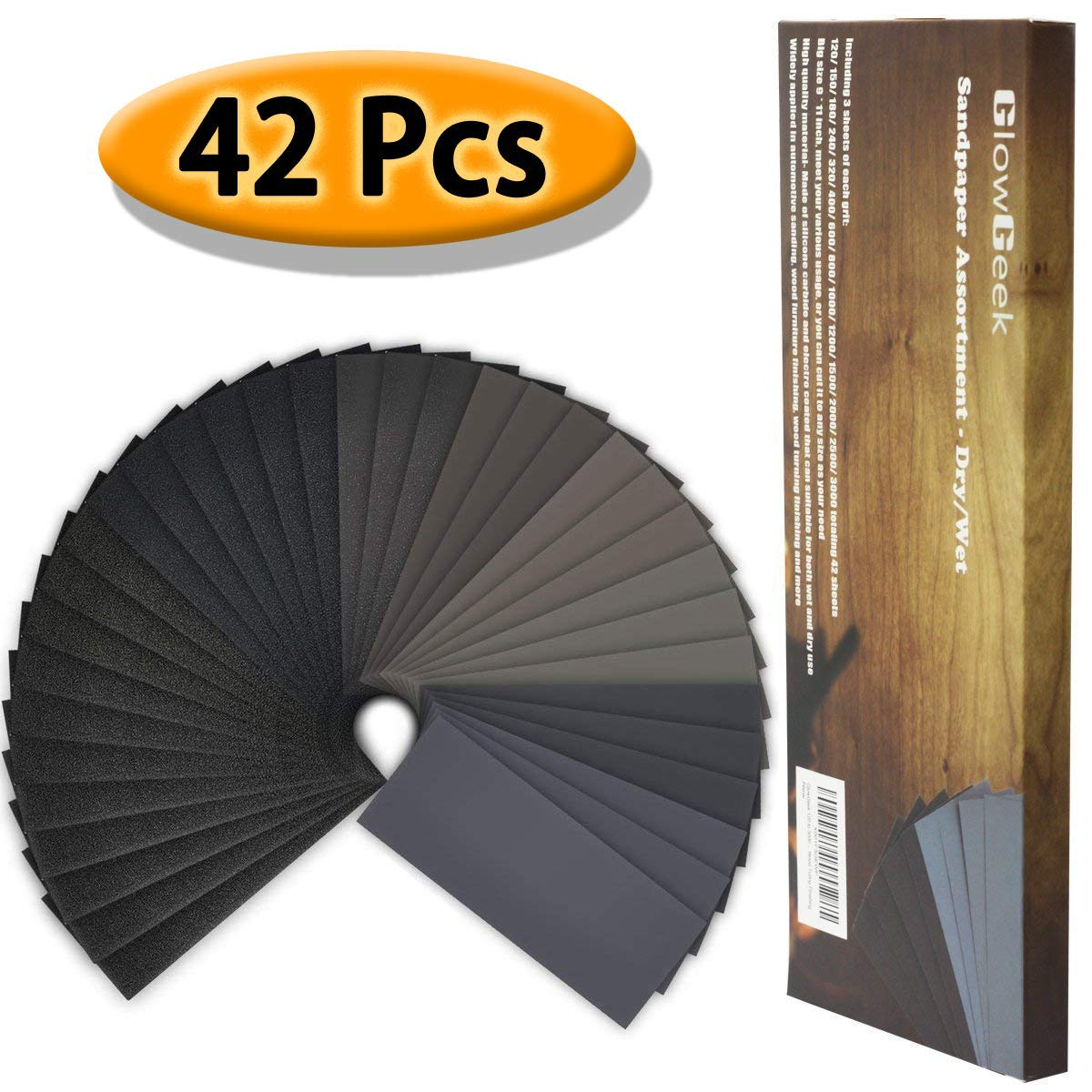 28 Pieces 120 to 3000 Grit Wet Dry Sandpaper Assortment Abrasive Paper Sheets 9 by 3.6 Inches for Automotive Sanding Wood Furniture Finishing Wood Turing Finishing