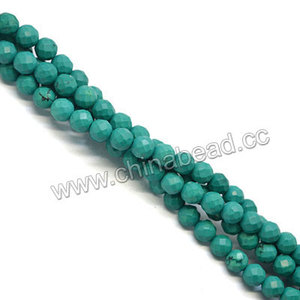 Chinese turquoise beads green blue 6mm faceted gemstone