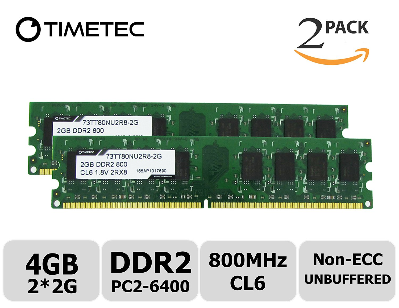 Timetec Hynix IC (73TT80NU2R8-2GK2) 4GB KIT (2x2GB) DDR2 800MHz (PC2 6400) Non Ecc Unbuffered 1.8V CL6 240 Pin DIMM Desktop PC Computer Memory Ram Module Upgrade (4GB KIT (2x2GB))