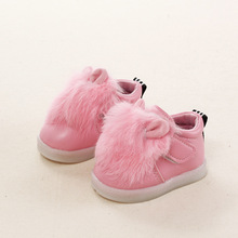 children rabbit feather female baby shoes cute girl Leather Shoes with light shining for 1 3