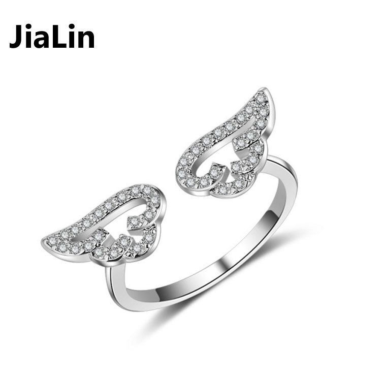 Fashion open adjustable diamond angel wing rings jewelry wholesale