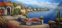 Mediterranean garden seascape oil painting on canvas
