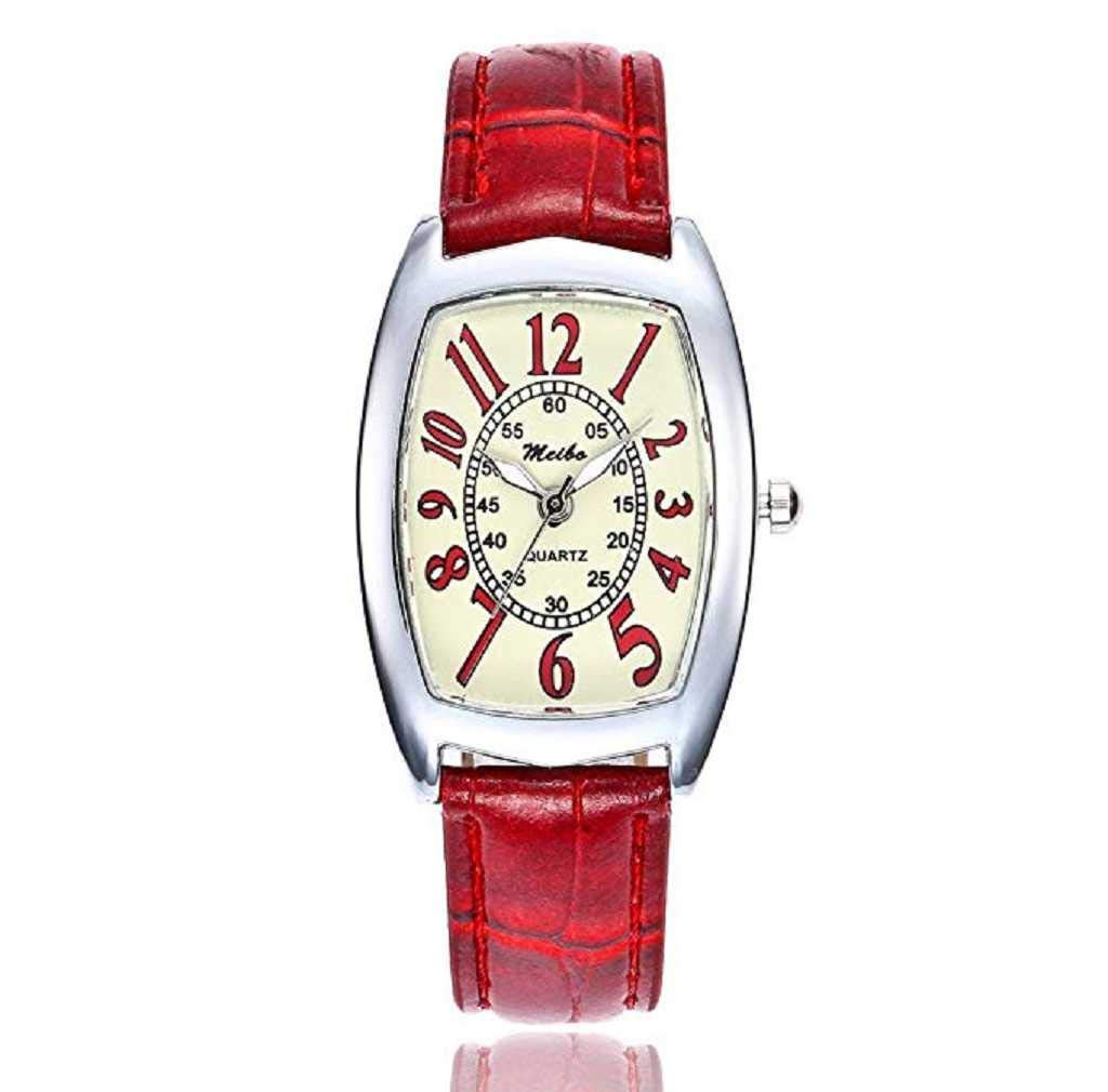 Clearance Sale! Womens Watches,ICHQ Womens Digital Quartz Watches Ladies Casual Square Leather Band Wrist Watch Teens Fashion Alloy Analog Watchws (Red)