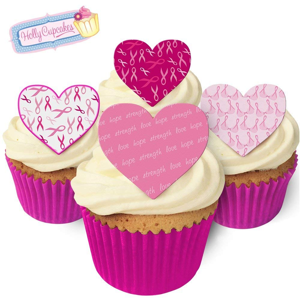 Get Quotations 12 Edible T Cancer Research Heart Cake Decorations Plus A Free Gift Of Smaller