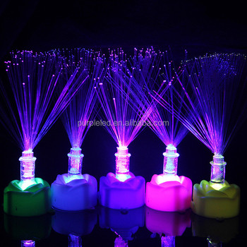 party show Xmas night lamp 7 Color Light Night Rose Flower LED Lamp Candle OPTICAL FIBER lamp nightlight