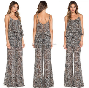 Adjustable shoulder straps leopard chiffon print jumpsuit,Elastic waist leopard chiffon print jumpsuit,Back cut-out with button