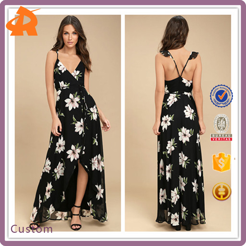 2017 Wholesale Froal Printed High-Low Wrap Maxi Women Maxi Long Dress