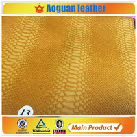 2016 pu classical shoe leather with snake skin leather & pu leather fabric wholesale