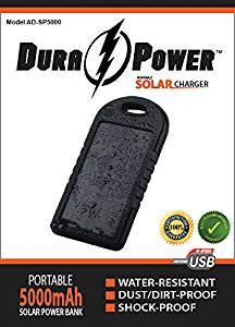 Solar Charger - DURA ϟ POWER(™) AD-SP5000 - NEWEST On the Market, ENVIRONMENTALLY FRIENDLY Model, 5000mAh Dual Portable USB Charger Power Bank w/ LED Flashlight, Carabiner and Charging Cord. This Rechargeable External Battery Pack is constructed with a Solar Panel for Emergency Charging. This Unit