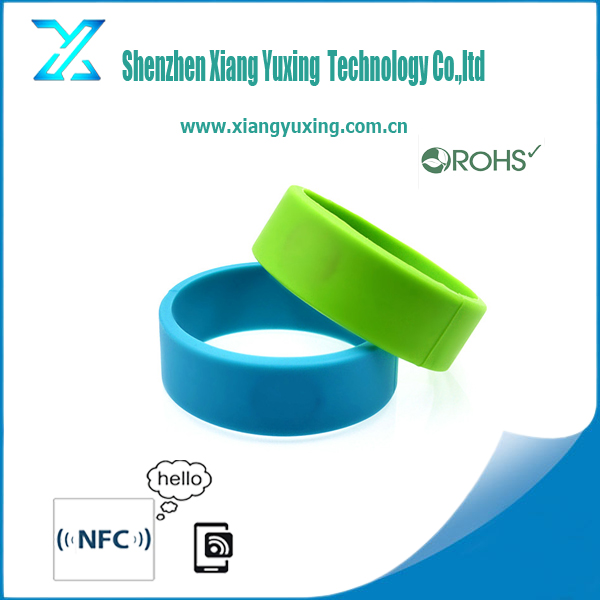 rfid wrist band ev1 2k 4k / s50 s70 /ultralight c / F08 / Ntag213 NFC smart round band with silicon / paper