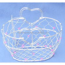 Decorative wire baskets with heart-shape handle