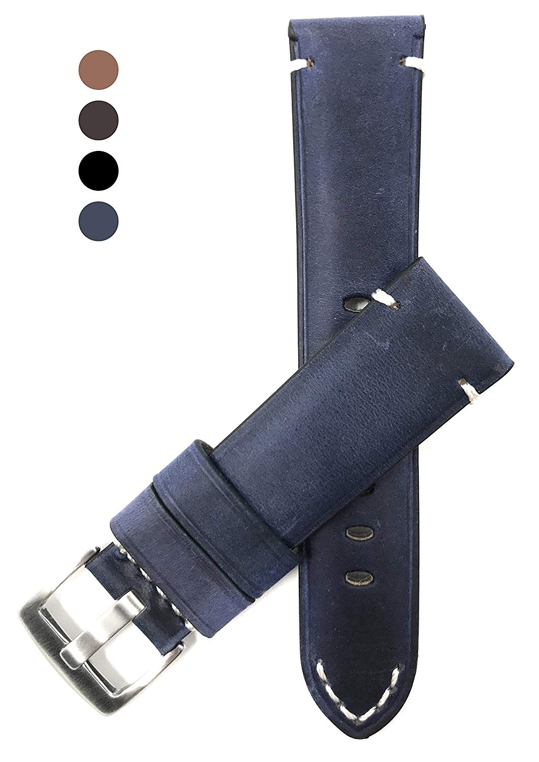 20mm to 24mm, Vintage Watch Band Strap, Genuine Leather, Black, Brown, Tan & Blue, White Stitch, Stainless Buckle