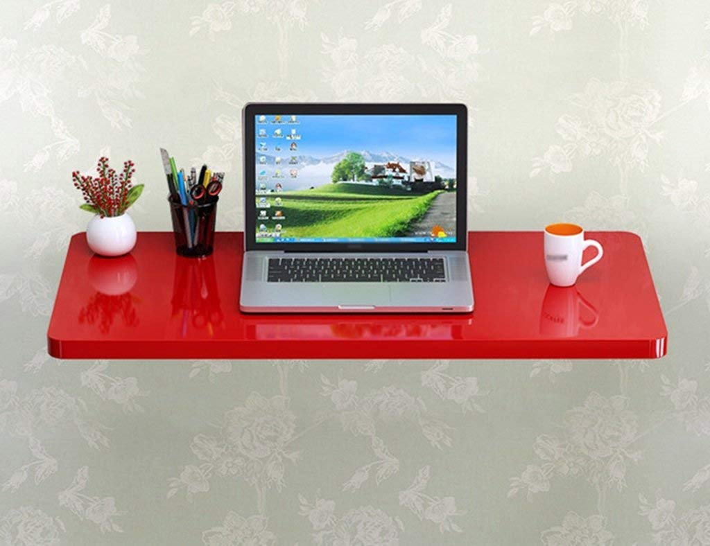 Mmdp Paint Foldable Computer Desk Wall-mounted Laptop Desk Wall Hanging Table Learning Table Dining Table Color Size Optional (Color : Red, Size : 50cm40cm)