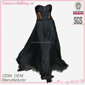 Fashion 2016 ladies preferred maxi off-shoulder sweetheart neck sexy silk black evening dress