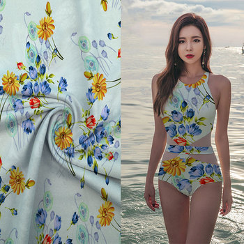High quality digital print novelty knitted polyester lycra shiny swimwear fabric for sale
