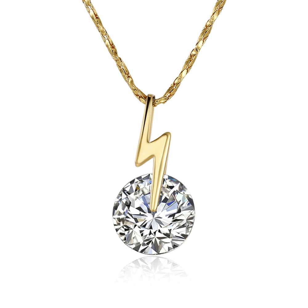 Fashion Gold Jewelry Gold Plated Jewelry Supplies 24k Gold Necklace Designs Single Zircon Flash Shaped Pendant Necklace