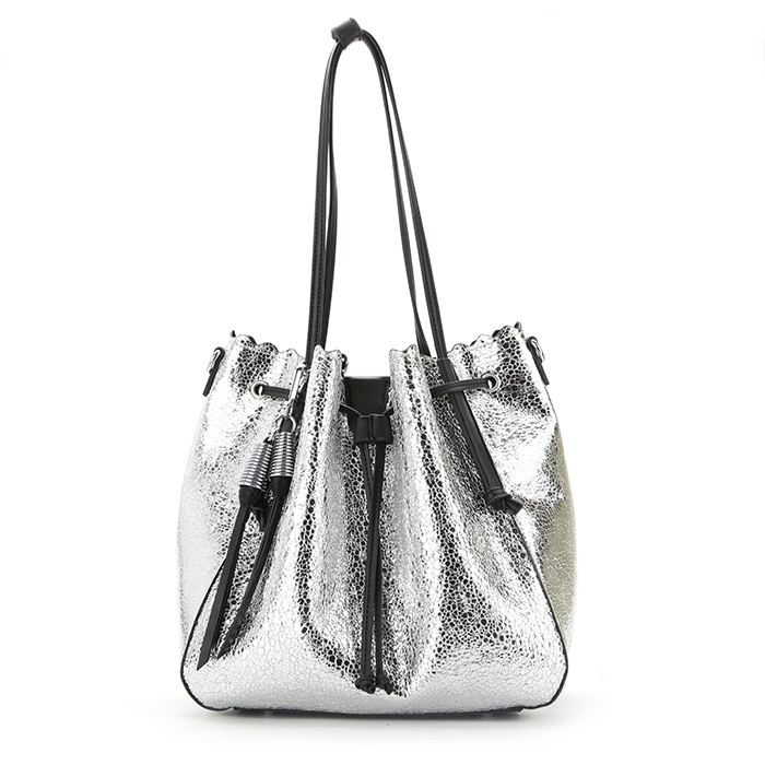 8798 China manufacturer 2018 new arrival fashion design women drawstring bag  metallic PU leather lady tote 91eaffc724b3a