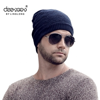 Mens Beanie Knitted Caps Crochet Hats Wool Pom pom Curling Ear Protect  Winter Cool Casual Cap 969a906b35c