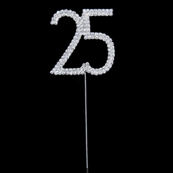 Bling Rhinestone Cake Topper Gold Quinceanera 25 Number