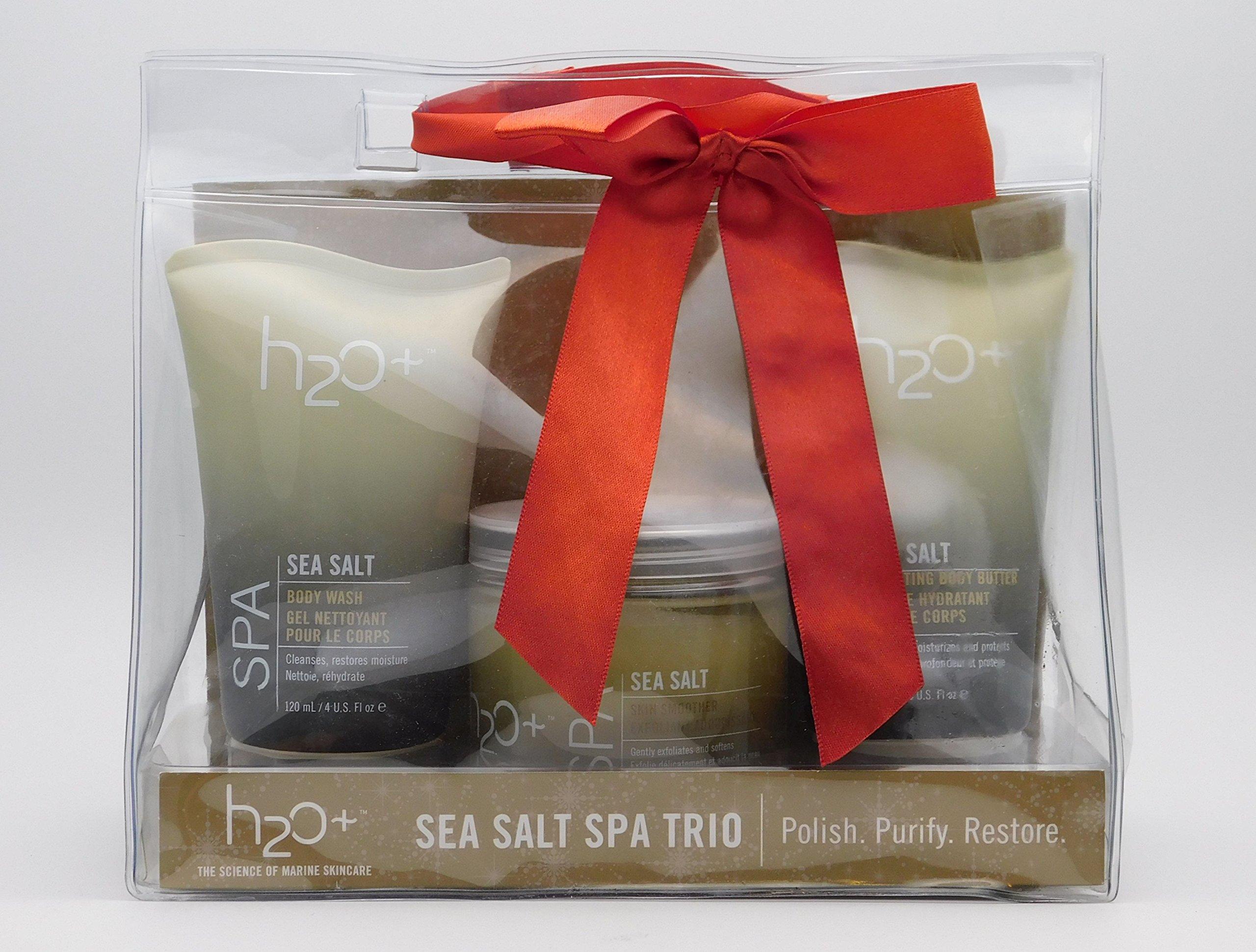 H2O Plus Sea Salt Spa Trio: Sea Salt Body Wash 4 Oz, Sea Salt Skin Smoother 12 Oz & Sea Salt Hydrating Body Butter 4 Oz