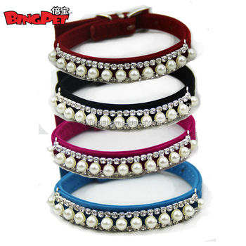 Free Shipping! Velvet pearl crystal Fashion Bling Dog collar