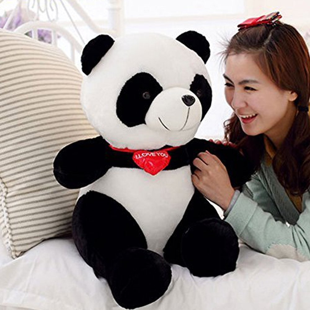 LUCKSTAR(TM) 53cm Black White With Red Fortune Panda Bear Stuffed Animal Plush Toy Black White Plush Cute Big Head Panda Large Pillow Cushion Design Kids Toy Gift affordable delight for any bear lover