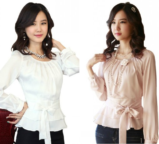 ba721040d76 Get Quotations · Peplum Shirts Plus Size S-XXL 2015 Womens Fashion White  Pink Slim Waist O neck