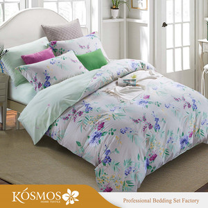 4 Piece customised sizes printed bedding cotton fitted bed sheet