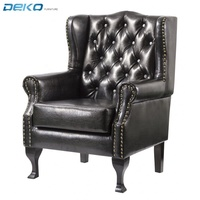PU Leather Upholstered and buttoned High Back Wing Chair