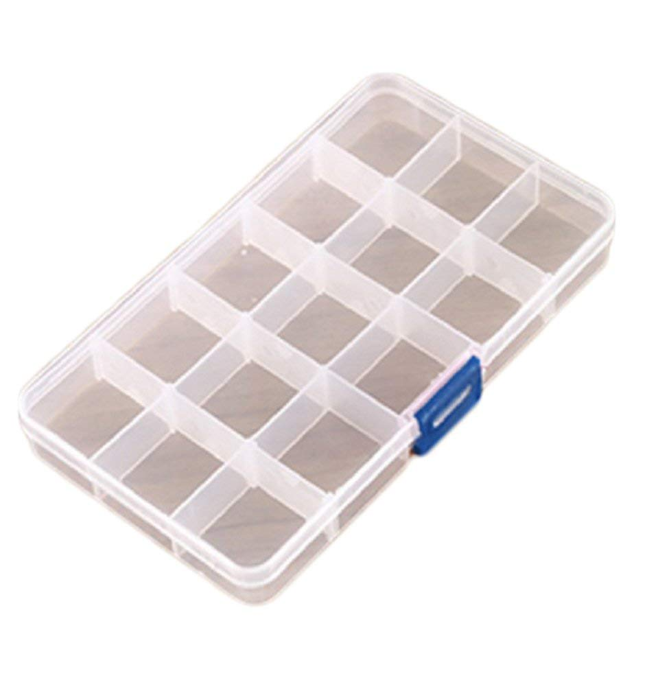15/24/36 Grids Clear Plastic Storage Box Adjustable Bead Case Nail Art Tools Earring Jewelry Storage Organizer (White, 15-Grid)